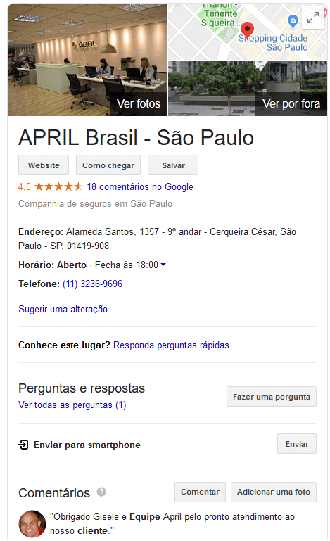 Como a April Seguros está avaliada no Google?